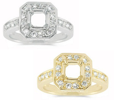 Exquisite Square Halo Pave Set Diamond Engagement Ring - 0.47 ctw.