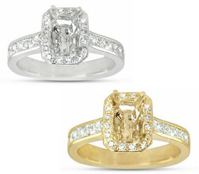 Elegant Channel Set, Princess And Round Cut, Diamond Engagement Semi-Mount With A Pave Set Halo For A Rectangular Center Stone - 0.82 ctw.