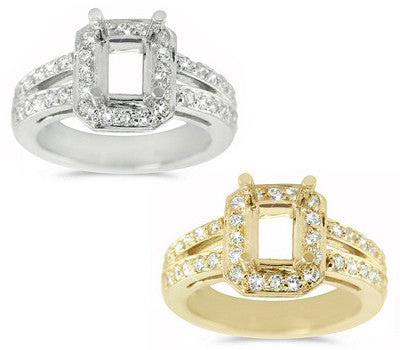 Stately Double Bridge Pave Set Engagement Semi-Mount with a Rectangular Center Stone Halo - 0.64 ctw.