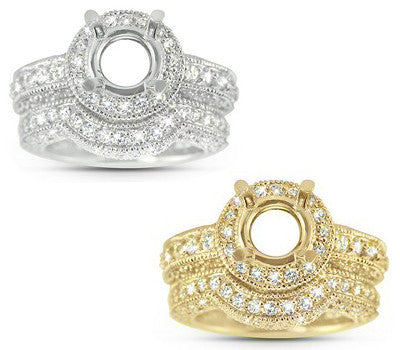 Bold Concave Open Gallery Diamond Wedding Set with a Round Halo and Milligrain Edges - 2.17 ctw.