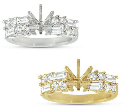 Whimsical Alternating Prong Set Baguettes and Round Cut Diamonds Engagement Ring - 1.20 ctw.