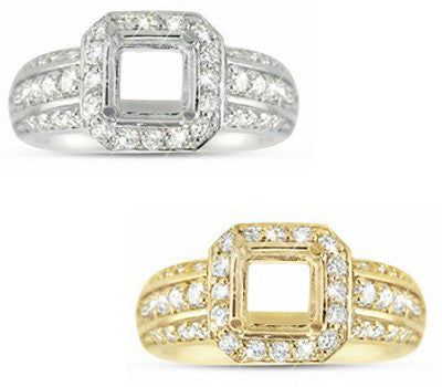 Elegant Three Rows Diamond Ring with a Square Halo - 1.08 ctw.