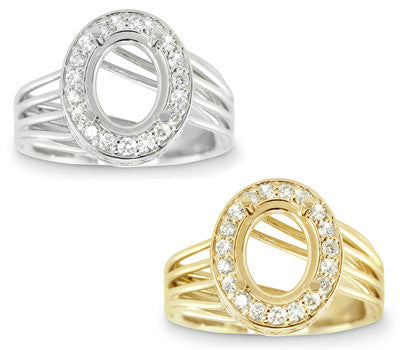Modern Twist Embellished And Pave Set Diamond Engagement Semi-Mount for an Oval Center Stone - 0.38 ctw.