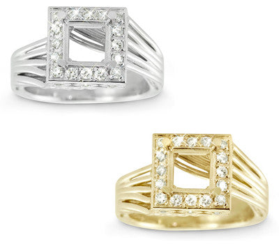 Modern Twist Pave Set Diamond Engagement Semi-Mount for a Square Center Stone - 0.30 ctw.