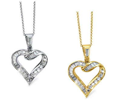 Open Heart Curlique Design Diamond Pendant Necklace