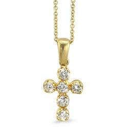 Petite Prong Set Cross Diamond Necklace