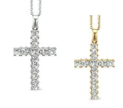 Diamond Cross Necklance with Shared Prong Set Princess Cut Diamonds