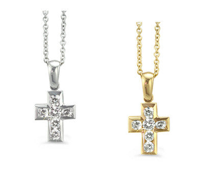Petite Channel-Set Cross Diamond Necklace
