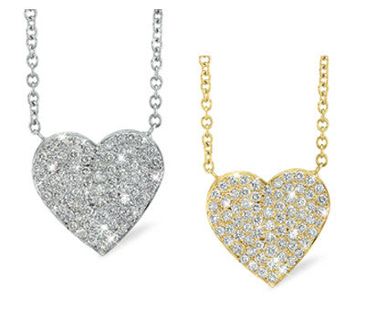 Extra Large Romantic Heart Shaped Diamond Necklace