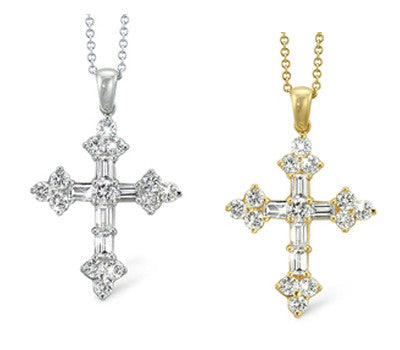 Embellished Cross with Round Diamonds And Baguettes