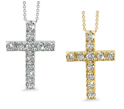 Prong-Set Small Diamond Cross Necklace
