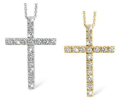 Prong-Set Diamond Cross Necklace