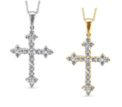 Round Diamond Point Cross Necklace
