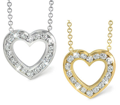 Small Open Heart Channel Set Diamond Necklace