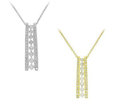 Eight Diamond Ladder Pendant Necklace