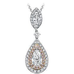 2.01 ct. Pear Diamond Double Drop Marquis & Pink Diamond & Pave Necklace - 2.01 ctw.