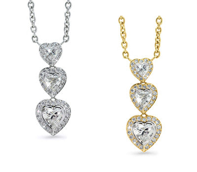 Three Dangling Hearts with Diamonds Necklace