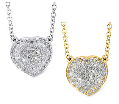 Romantic Heart Shaped Diamond Necklace
