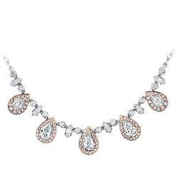 Romantic Pink Drop Floating Diamond Choker - 6.09 ctw.