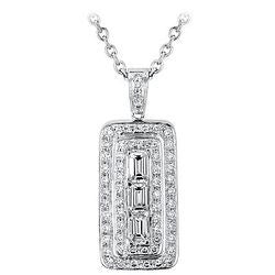 Emerald-Shaped Diamond & Diamond Pave Amulet Necklace - 3.02 ctw.