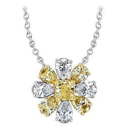 Daisy Yellow & White Nine-Diamond Necklace - 4.93 ctw.