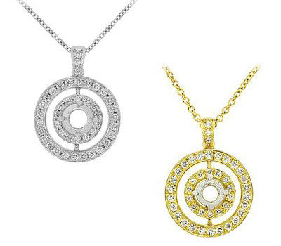 Double Eternity Diamond Pendant Necklace