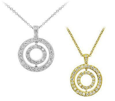 Twin Circle Diamond Pendant Necklace