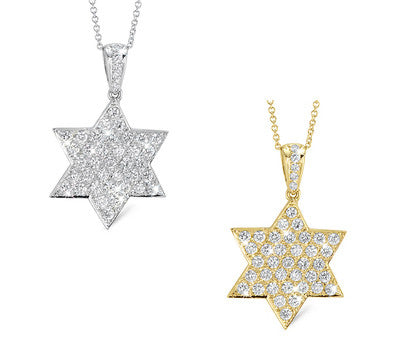 Flat Star Diamond Pendant Necklace