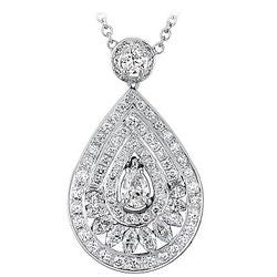 Evening Tear Drop Shaped Diamond Necklace - 3.07 ctw.