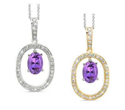 Large Duo Oval Amethyst & Diamond Pendant Necklace
