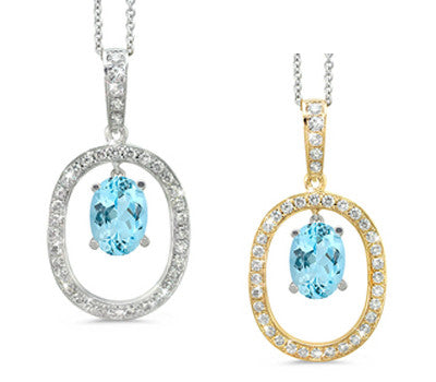 Large Duo Oval Aquamarine & Diamond Pendant Necklace