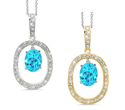 Large Duo Oval Blue Topaz & Diamond Pendant Necklace