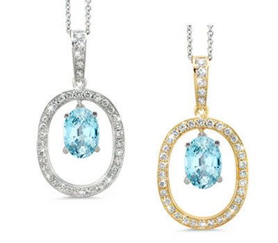 Large Duo Oval Blue Zircon & Diamond Pendant Necklace