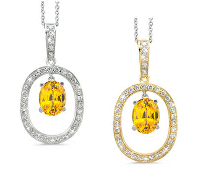 Large Duo Oval Citrine & Diamond Pendant Necklace