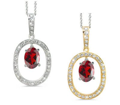 Large Duo Oval Garnet & Diamond Pendant Necklace