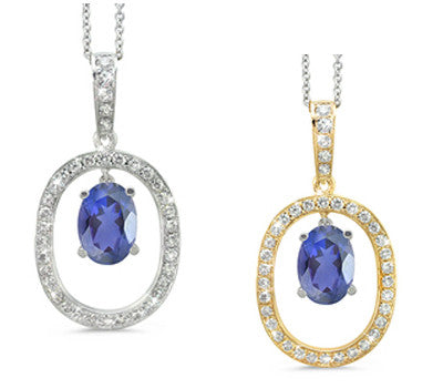 Large Duo Oval Iolite & Diamond Pendant Necklace