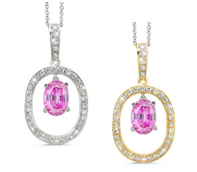 Large Duo Oval Pink Sapphire & Diamond Pendant Necklace