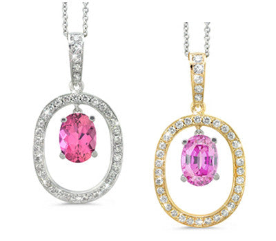 Large Duo Oval Pink Tourmaline & Diamond Pendant Necklace