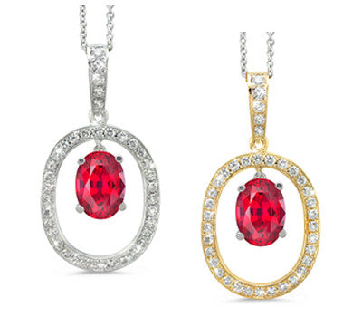 Large Duo Oval Ruby & Diamond Pendant Necklace