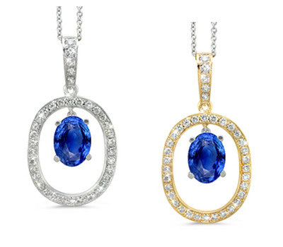 Twin Oval Blue Sapphire & Diamond Pendant Necklace