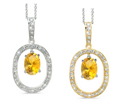 Large Duo Oval Yellow Sapphire & Diamond Pendant Necklace