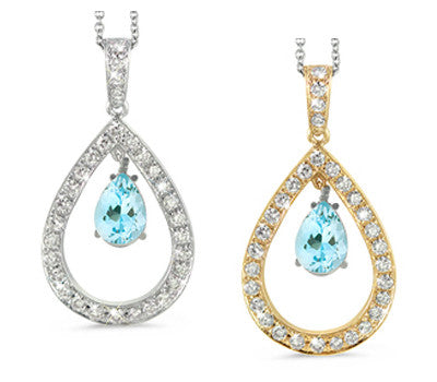 Twin Pear Shaped Aquamarine & Diamond Pendant Necklace