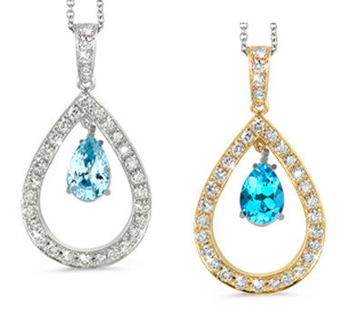 Twin Pear Shaped Blue Topaz & Diamond Pendant Necklace