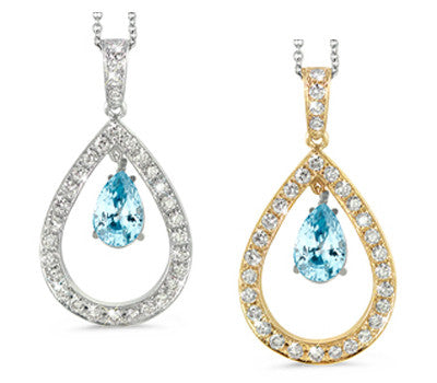 Twin Pear Shaped Blue Zircon & Diamond Pendant Necklace