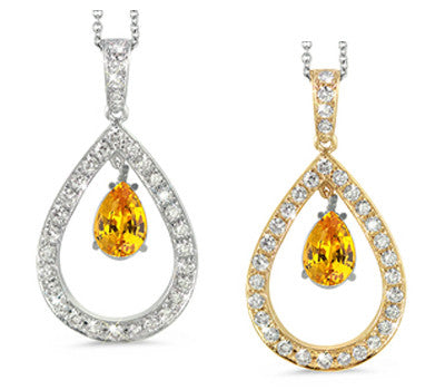 Twin Pear Shaped Citrine & Diamond Pendant Necklace