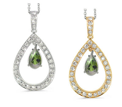 Twin Pear Shaped Green Tourmaline & Diamond Pendant Necklace