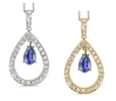 Twin Pear Shaped Iolite & Diamond Pendant Necklace