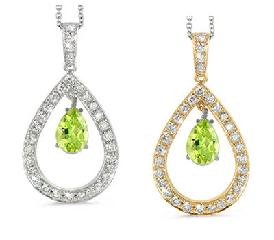 Twin Pear Shaped Peridot & Diamond Pendant Necklace