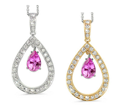Twin Pear Shaped Pink Sapphire & Diamond Pendant Necklace