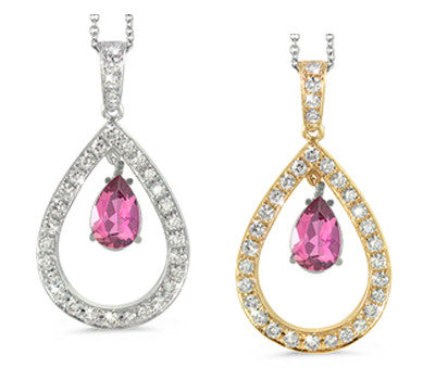Twin Pear Shaped Pink Tourmaline & Diamond Pendant Necklace